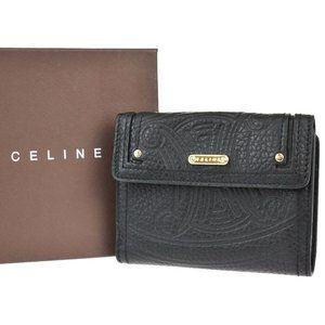 CELINE Logo Macadam Bifold Wallet Purse Leather Black Gold Made In Italy 04JE236
